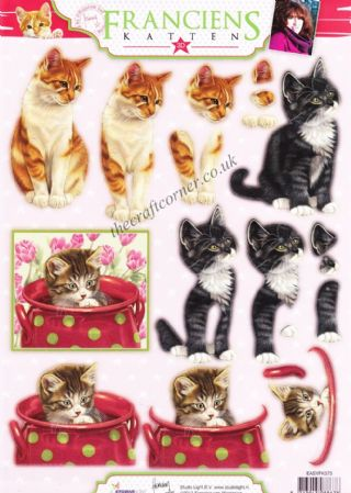 Kittens And Cat Die Cut 3d Decoupage Sheet Designed by Franciens Katten